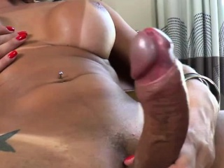 Temptress Tgirl Camyle plays dildo toy