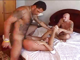 Tranny fucked by 2 guys