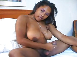 Black big cock tranny selfpleasure